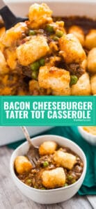My kids do not stop requesting this Bacon Cheeseburger Tater Tot Casserole Recipe; it's simple comfort food at it's finest and perfect for busy weeknights! It's super quick and easy to make and deliciously cheesy.