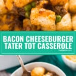 My kids do not stop requesting thisBacon Cheeseburger Tater Tot Casserole Recipe; it's simple comfort food at it's finest and perfect for busy weeknights! It's super quick and easy to make and deliciously cheesy.