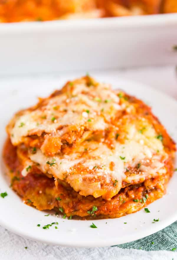 A plate of Baked Eggplant Parmesan.