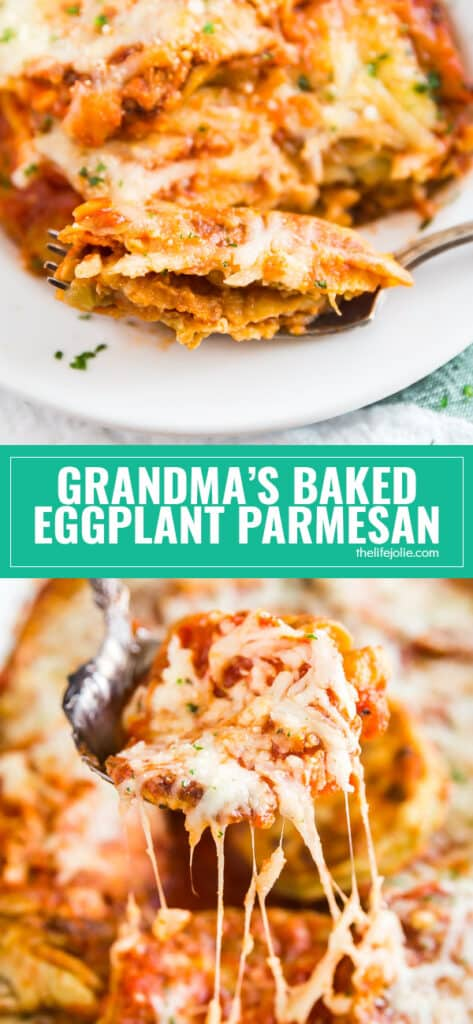 Grandma's Baked Eggplant Parmesan is a delicious twist on a classic family favorite. You've never had eggplant parm like this! Super thin slices of eggplant dredged in flour and then egg and fried until golden and then layered with sauce and cheese- this is basically like eggplant lasagna!