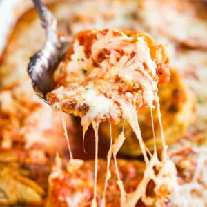 A square image of Baked Eggplant Parmesan.