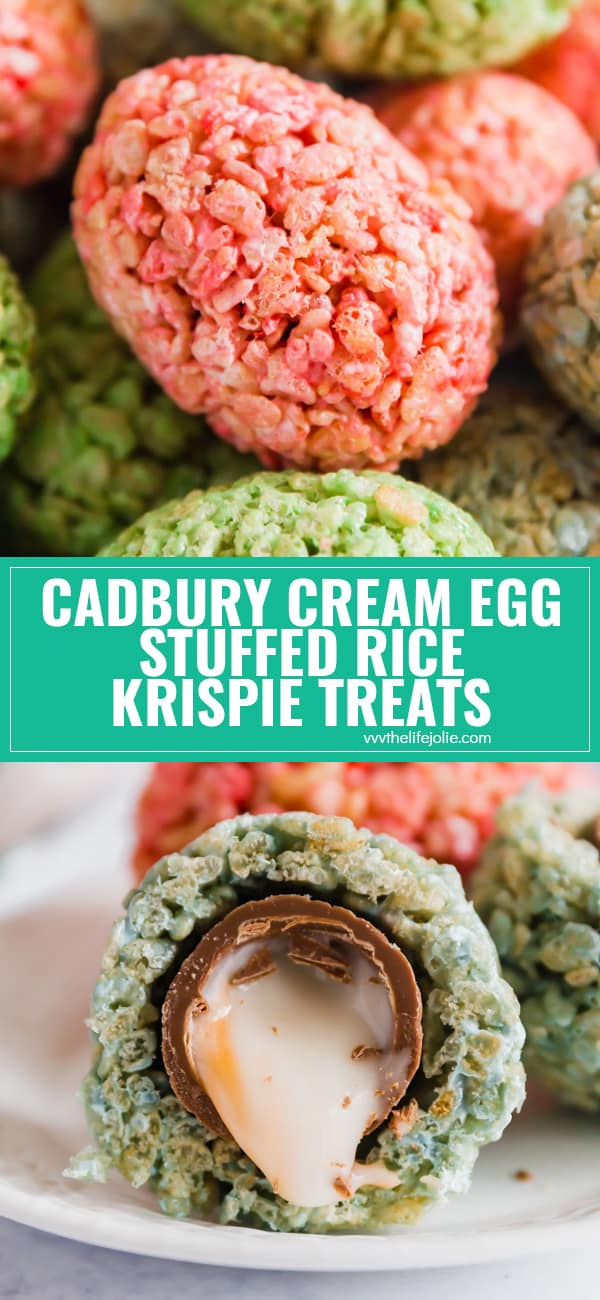 Cadbury Cream Egg Stuffed Rice Krispie Treats are a super fun Easter treat that kids and adults will go crazy for- especially when they see the delicious surprise inside! Made with marshmallows and crispy rice cereal these are not to be missed!