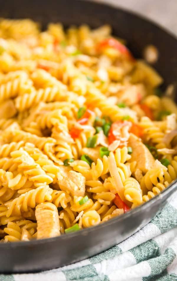 Chicken fajitas in pasta form