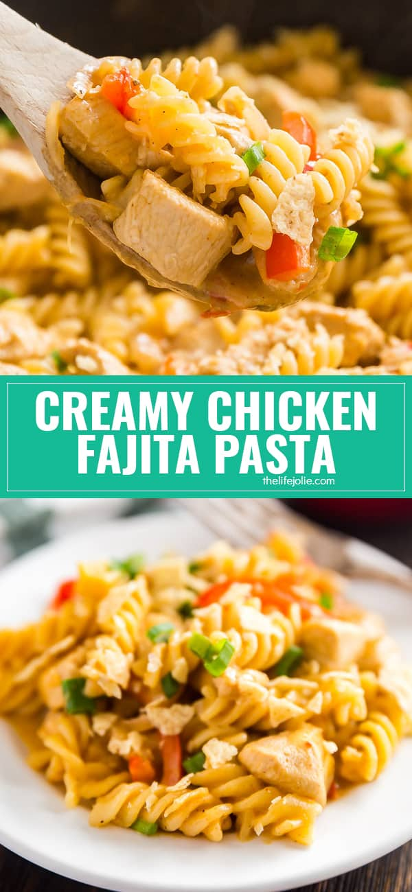 Looking for a quick, easy and delicious weeknight meal for your family? Look no further, this30 minute meal Creamy Chicken Fajita Pasta is full of tender chicken, sweet peppers and onions and a spicy kick that will keep everyone coming back for seconds!
