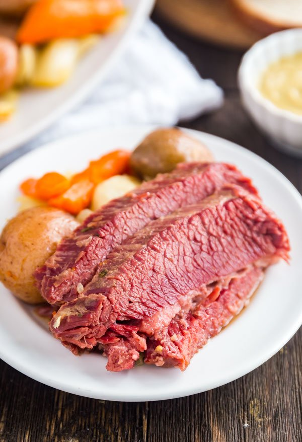 Easy Corned Beef and Cabbage. on a plate.