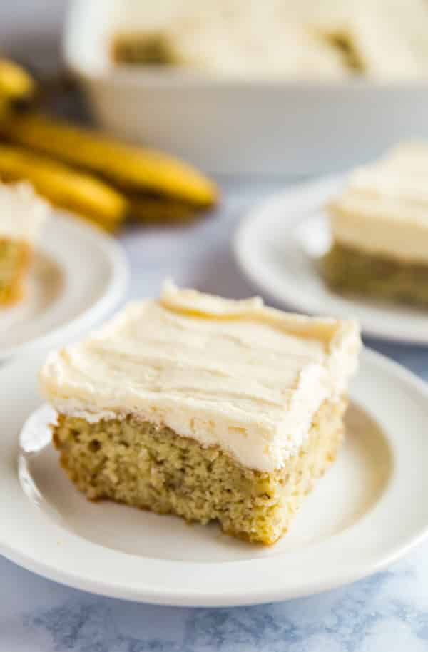 A plate of Grandma's Best Banana Cake recipe.