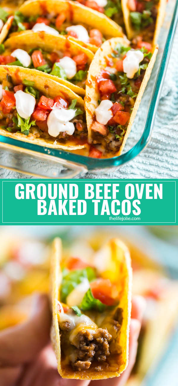 I secretly wish it was Taco Tuesday every night and once you taste these quick and easy Ground Beef Oven Baked Tacos you'll understand why! Refried beans, ground beef taco meat and melted cheese in a crispy taco shell. Your family will be  fighting for seconds.