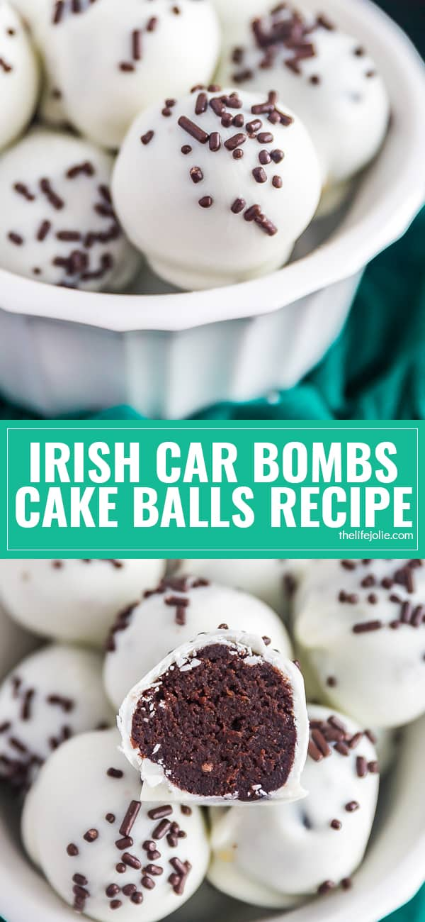 Irish Car Bomb Cake Balls Recipe turns everyone's favorite shot into a sweet and delicious confection. Bring these to your next party, if you don't eat them all first! Chocolate Cake with Guinness in it, made into a truffle with Irish Cream and covered in white chocolate. These are dangerously addictive!
