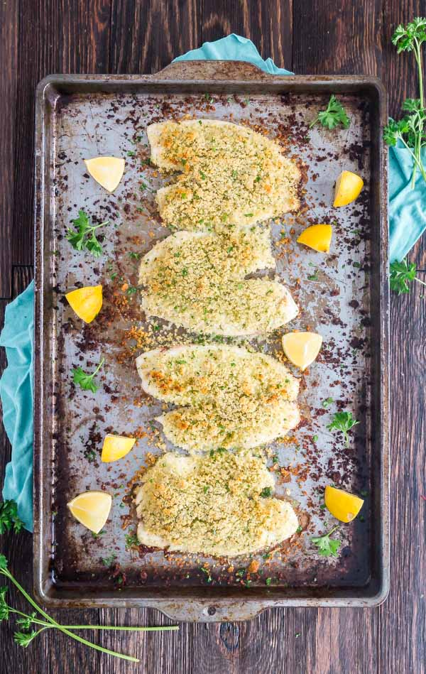 An overhead image of Oven Baked Tilapia on a pan with lemons and fresh parsley around it.