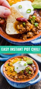 Easy Instant Pot Chili will knock your socks off. Ready in around 30 minutes and full of mouthwatering flavor! Full of ground beef, ground pork, tons of chili seasonings, vegetables and beans it's quick and easy to make on a week night or for a party (game day anyone?!).