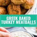 Greek Baked Turkey Meatballs are a tasty appetizer or an excellent main dish. They're insanely easy to whip up and a healthy option as well! Ground turkey, lemon juice and greek spices make a delicious and flavorful meatball that tastes awesome with tzatziki sauce!