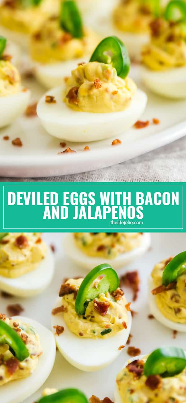 Deviled Eggs with Bacon and Jalapeños are basically Jalapeno Popper Deviled Eggs. They're cheesy, creamy and have a deliciously spicy kick! Made with eggs, bacon, cream cheese and jalapenos- these are a seriously delicious and easy appetizer for any party!