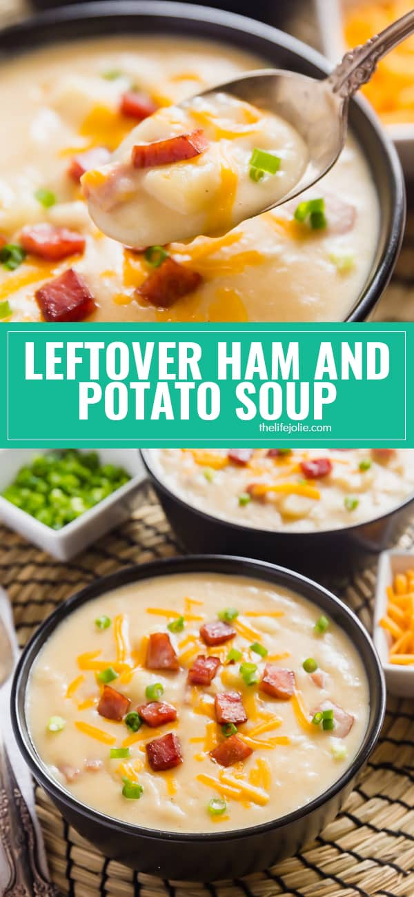 Leftover Ham and Potato Soup is the most delicious way to use leftover ham. It's super creamy and cheesy but also seriously easy to make! Made with potatoes, cheddar cheese, and ham, this one is a definite keeper!