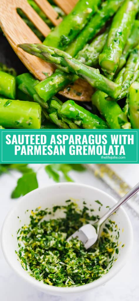 Sautéed Asparagus with Parmesan Gremolata is a light and fresh side dish that is as quick and easy as it is delicious! Tender asparagus with a mixture of garlic, lemon zest, parsley and olive oil make an excellent and refreshing vegetable side!