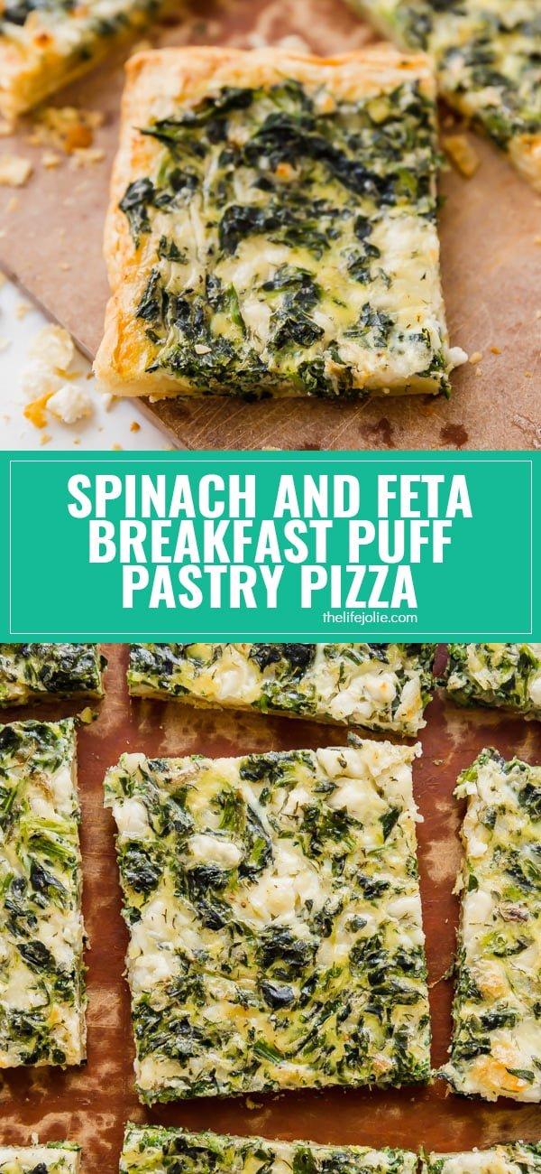 Spinach and Feta Breakfast Puff Pastry Pizza is light and savory with a flaky puff pastry crust. This is the perfect, easy, throw-together brunch option!