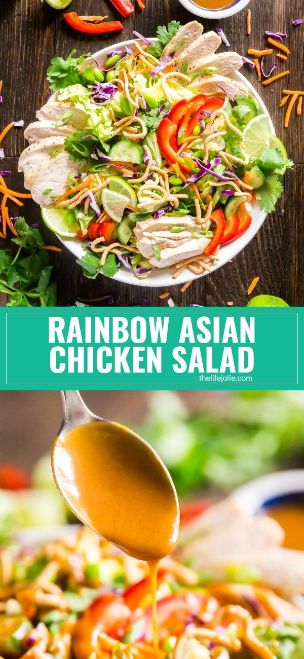 This Rainbow Asian Chicken Salad recipe is dangerously addictive. It's perfect for a crowd and is also great to make as a healthy meal prep for the week! This is made with an array of fresh vegetables, chicken and an awesome peanut dressing!