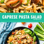 We all love a Caprese salad, but what's even better? Caprese Pasta Salad! Sweet tomatoes and basil, tender fresh mozzarella cheese and orzo pasta make a salad that you won't be able to stop eating!