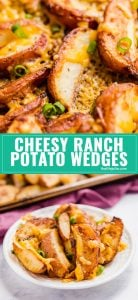 These Cheesy Ranch Potato Wedges are downright addictive! Crispy on the outside and perfectly tender on the inside with a deliciously zesty ranch flavor and finished with melted cheddar cheese.