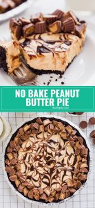 Rich and Creamy Peanut Butter Pie is the dessert that dreams are made of and best of all, it's no bake! Oreo cookie crust, creamy peanut butter filling, swirls of chocolate sauce and plenty of mini peanut butter cups. You will make this again and again!
