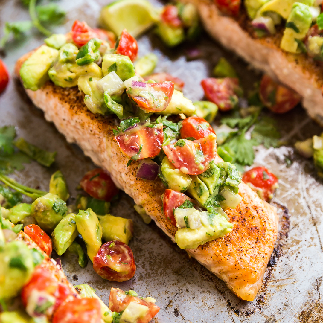 Chili Lime Baked Salmon With Chunky Avocado Salsa
