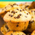 My kids do not stop begging for these Chocolate Chip Banana Bread Muffins! They're so quick and easy to make and the perfect way to use ripe bananas! I love how they're perfectly moist with mini chocolate chips sprinkled throughout- this recipe is a keeper!