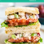 Copycat Panera Bread Napa Almond Chicken Salad Sandwich is one of my favorite light lunches. Made with grapes, almonds and celery, it's seriously quick and easy to make and a great way to repurpose leftover chicken!