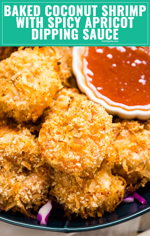 Meet your new favorite easy weeknight dinner: Baked Coconut Shrimp Recipe with Spicy Apricot Dipping Sauce. A little bit sweet. A little bit spicy. A whole lot of delicious.