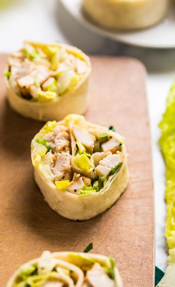 What should you do with that leftover chicken? Make Chicken Caesar Pinwheels, of course! They're super easy to make and are a seriously delicious lunch or healthy appetizer.