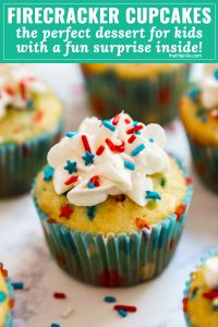 Firecracker Vanilla Cupcakes are the most fun kid's dessert the 4th of July- you'll love the POP ROCKS hidden inside for a totally fun surprise when you bite into them. These are a must-make and are SO easy because they're a cake mix hack!