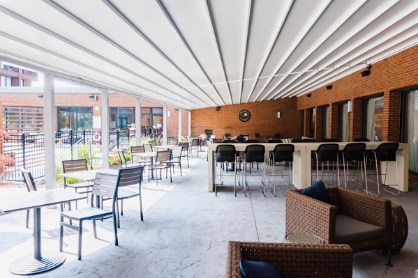 Shaded patio at the DoubleTree