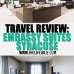 I cannot wait to share all the detail of our stay at the Embassy Suites Syracuse. We had a fantastic time! This travel review shares all aspect of our stay at this hotel in Syracuse, NY for a family trip.