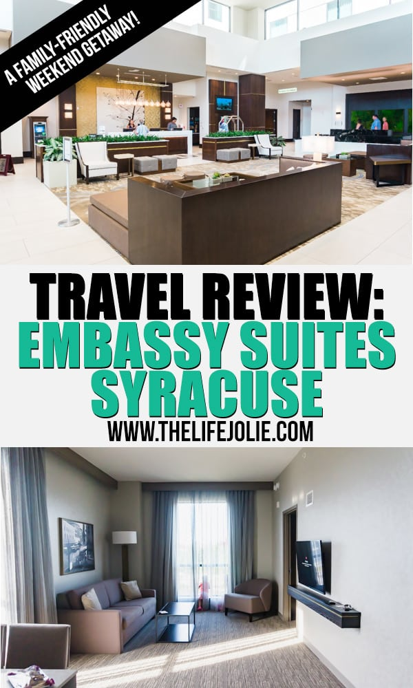 I cannot wait to share all the details of our stay at the Embassy Suites Syracuse. We had a fantastic time! This travel review shares all aspect of our stay at this hotel in Syracuse, NY for a family trip.