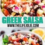 Greek Salsa is a light, healthy and fresh take on a traditional salsa- it's super easy to make with tomatoes, cucumber, olives, oregano, lemon juice, onions and feta cheese. This is so delicious, you won't be able to stop eating it!