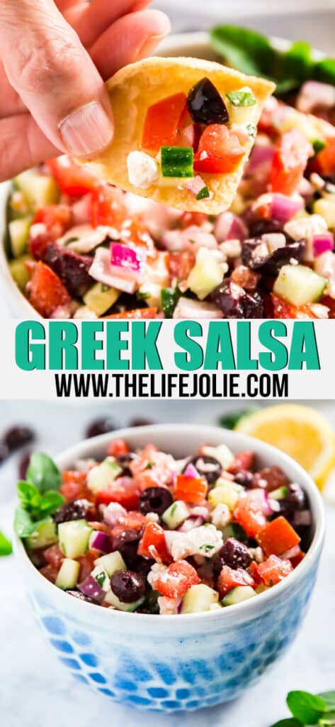 Greek Salsa is a light, healthy and fresh take on a traditional salsa- it's super easy to make with tomatoes, cucumber, olives, oregano, lemon juice, onions and feta cheese. This issodelicious, you won't be able to stop eating it!