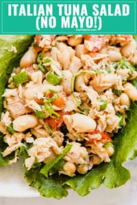 Italian Tuna Salad makes the perfect light and fresh lunch! This is a healthy (no mayo!) but satisfying option that is super easy to make and comes together in minutes so it's quick. Made with tuna, tomatoes, fresh basil and oregano, green onion, lemon juice and olive oil this will be your new favorite lunch option!