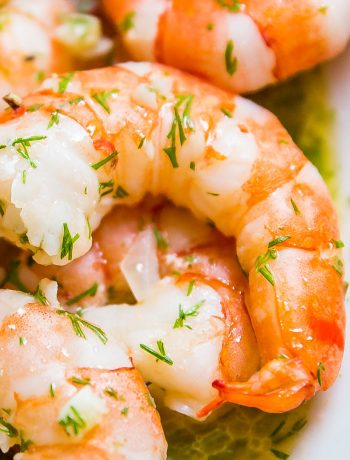 This Garlic Shrimp with Lemon, Butter and Dill will knock your socks off. It's full of insanely delicious flavor and extremely quick and easy to make with shrimp, butter, olive oil, dill, lemon, garlic and shallots!