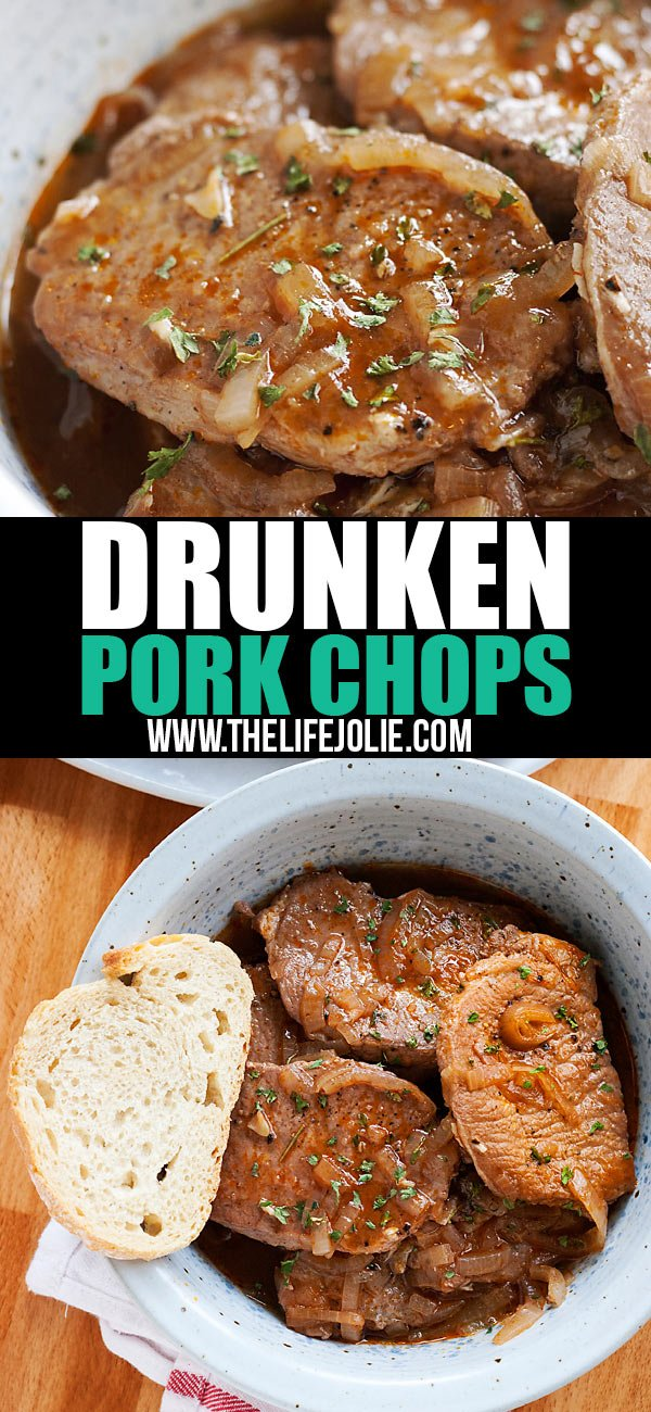 Drunken Stove Top Pork Chops is one of the easiest dinner recipes for busy families. This is low-maintenance cooking at it's finest and seriously delicious with fall-apart-tender thin-cut pork chops. Even your kids will love it (don't worry, the alcohol cooks off)!