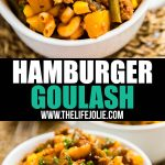 This Hamburger Goulash Recipe is comfort food at it's finest. Made with ground beef, elbow macaroni, tomato sauce, green beans, potatoes, corn and spices this weeknight meal is easy to make and is a dish the whole family will love!