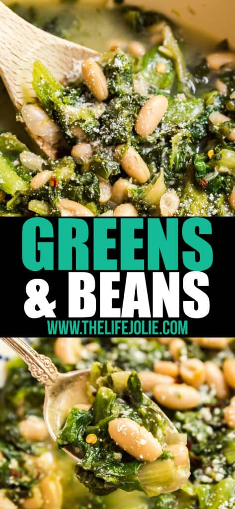 Greens and Beans is a classic Italian recipe that's as delicious and healthy as it is comforting. Made with escarole, cannellini beans, chicken broth, garlic, crushed red pepper flakes and Romano cheese, you'll want to make this easy regional specialty again and again!