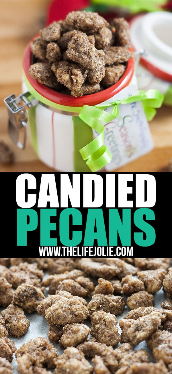 This Candied Pecans recipe is the best I've tasted! A few simple ingredients like brown sugar, granulated sugar, cinnamon, salt, vanilla and egg and then it's as easy as letting the oven do it's magic. They make a tasty snack, or salad topper and are excellent homemade gifts as well!