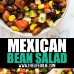 This Mexican Bean Salad Recipe is a quick and easy throw-together salad that's full of great flavor! Made with beans, celery, cilantro, tomatoes, onions, peppers, lime and slices, this is a delicious side dish the whole family will love!