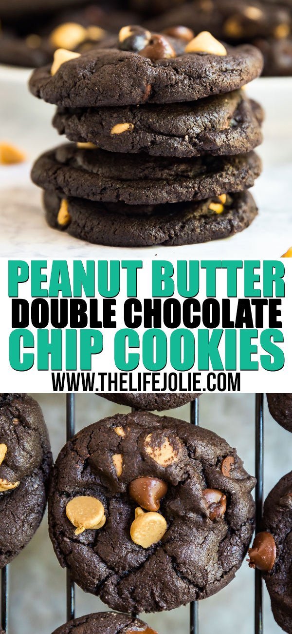 Do you like super rich, decadent desserts? If so, these Peanut Butter Double Chocolate Chip Cookies are right up your alley! Made with dark cocoa powder, chocolate chips and peanut butter chips, these are seriously easy to whip up last minute and also freeze well!