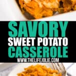 Craving a sweet potato casserole recipe without all sorts of sugar? Then this Savory Sweet Potato Casserole is for you! Made with sweet potatoes, savory herbs and spices and topped with crispy french fried onions, it's healthy, delicious and so easy to make Thanksgiving side dish!