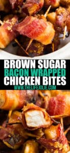Make theseBrown Sugar Bacon Wrapped Chicken Bites for your next gathering! Made with chicken, bacon, brown sugar, salt and pepper, they're a sweet and savory appetizer the whole family will love!