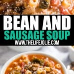 If you're looking for a hearty, delicious soup to warm you up on the coldest nights, this Bean and Sausage Soup is a total winner! Made with 3 different types of beans, Italian sausage and fresh escarole in a tomato broth, this is a seriously easy dinner the whole family will love!