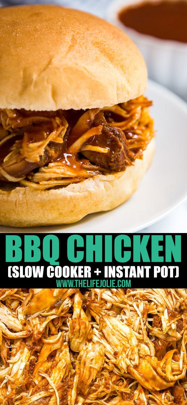 There's a reason this is called the Easiest Ever Crockpot BBQ Chicken. Just 3 ingredients (BBQ sauce, chicken and apple cider) that can all be mixed right in the pot and let the slow cooker do the rest! This is serious dinner goals!