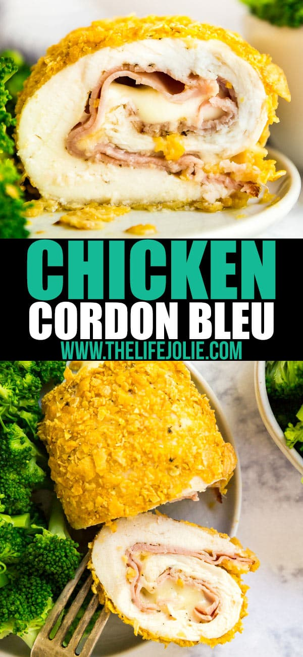This Baked Chicken Cordon Bleu is easy to make and so delicious. Made with chicken, corn flakes, ham and Swiss cheese, it's a weeknight meal that will wow your family!