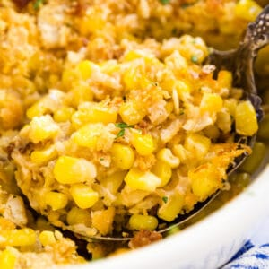 This Cheesy Corn Casserole is the holiday side dish of your dreams: seriously easy to make and filled with delicious flavor. Made with bacon, corn and plenty of cheese- your family will LOVE this!