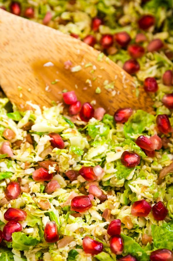 Sautéed Shredded Brussel Sprouts with Pomegranate Seeds