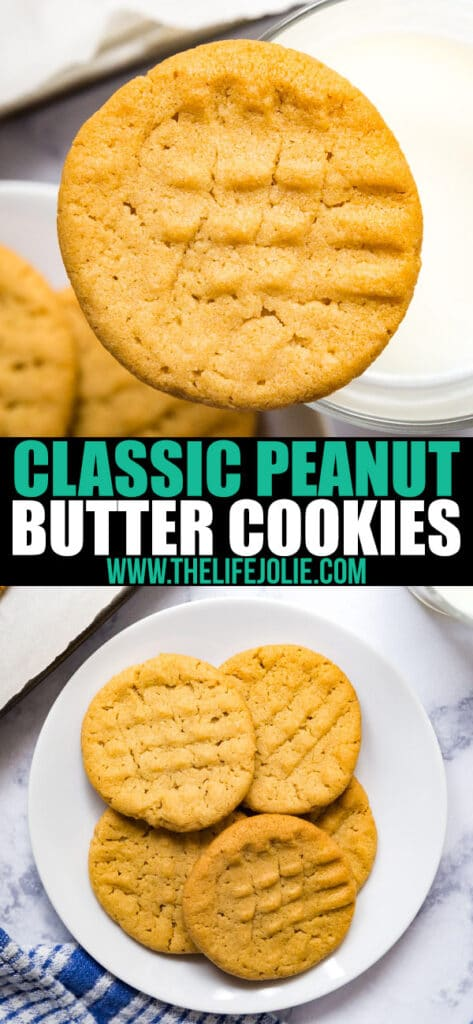 These classic peanut butter cookies are just like the old fashioned cookies your mom used to make; nice and chewy in the middle with just a tiny bit of crunch around the edges. This has been a family favorite recipe for generations!